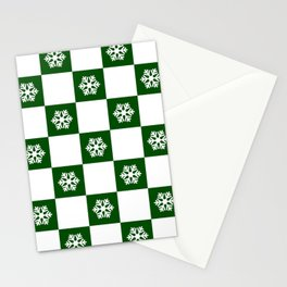 Winter - hunter green check - more colors Stationery Cards