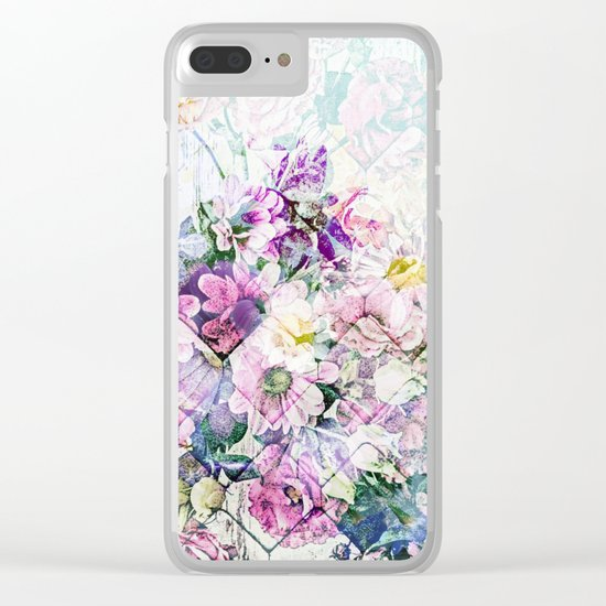 Pastel Daisies Quilt Clear iPhone Case