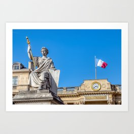 French National Assembly an Law statue in Paris Art Print