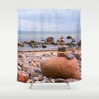 geology Shower Curtains featuring At the beach by UtArt