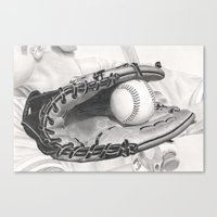 baseball Canvas Prints featuring Baseball by aurelia-art