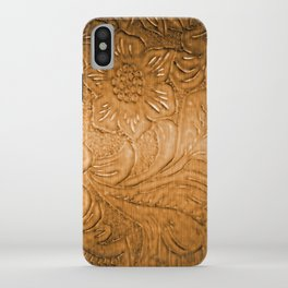 Golden Tan Tooled Leather iPhone Case
