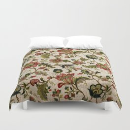 Red Green Jacobean Floral Embroidery Pattern Duvet Cover