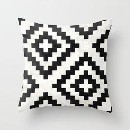 Urban Tribal Pattern No.18 - Aztec - Black and White Concrete Throw Pillow