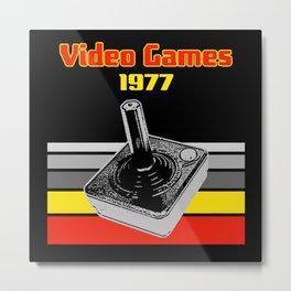 Video Games 1977 Retro Gaming Joystick Metal Print
