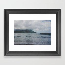 Two Surfers in a Sea - Kauai, Hawaii Framed Art Print