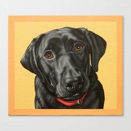 Black Labrador Retriever Portrait, Pop Art Lab Dog Painting Canvas Print