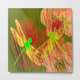 Dragonflies & Flowers Summer QQ Metal Print