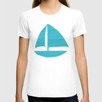 sailboat T-shirts featuring Sailboat Drawing by LFT designs