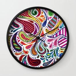 Rainbow Paisley Wall Clock