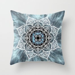 Mandala Nirvana Blue Spiritual Zen Bohemian Hippie Yoga Mantra Meditation Throw Pillow