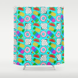 Pool Float Party Shower Curtain