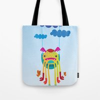 monster Tote Bags featuring Monster by Maria Jose Da Luz
