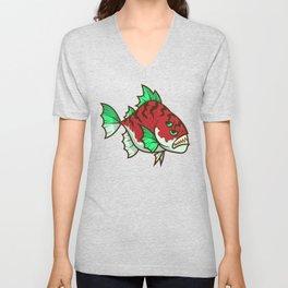 Red Fish Dangerous Fish Unisex V-Neck
