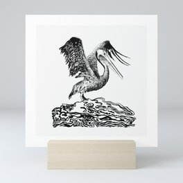A Gorgeous Pelican Shows Off Its Wings Mini Art Print