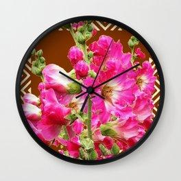 Coffee Brown Fuchsia Pink Holly Hocks Pattern Flora Art Wall Clock