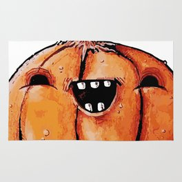 Halloween Pumpkin with Open mouth Smile Rug