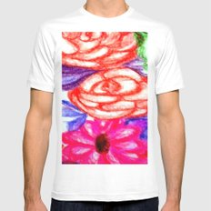 Roses and Daisies White MEDIUM Mens Fitted Tee