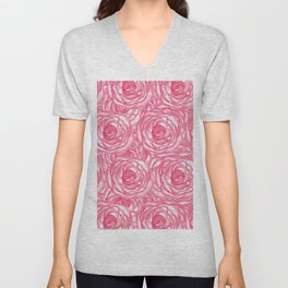 Girly Pink Hand Painted Watercolor Roses Unisex V-Neck