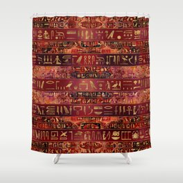 Egyptian hieroglyphs gold on red painted texture Shower Curtain