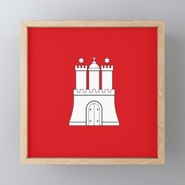 Flag of hamburg Framed Mini Art Print