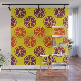 Tropical exotic juicy red and purple lemon citrus slices decorative summer fruity bright sunny yellow whimsical cute pattern design. Wall Mural