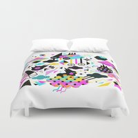 gravity Duvet Covers featuring Gravity by Muxxi