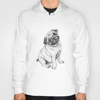 pug Hoodies featuring Pug by Maripili