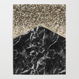 Shimmering golden chevron black marble Poster