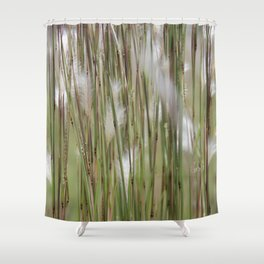 Wispy on green and magenta reeds Shower Curtain
