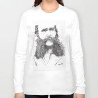 moustache Long Sleeve T-shirts featuring Moustache by Paul Nelson-Esch Art