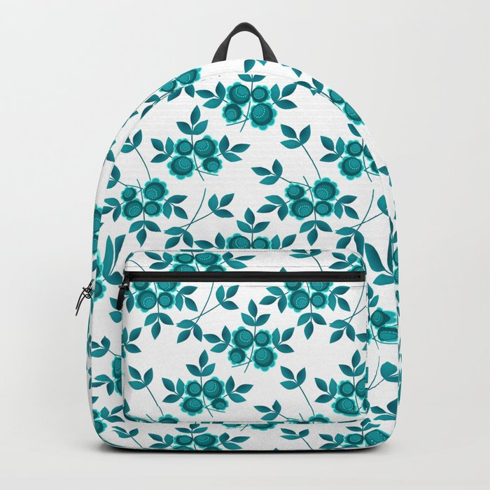 Retro .Turquoise flowers on a white background . Backpack