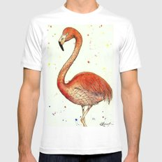 Colourful Flamingo  MEDIUM White Mens Fitted Tee