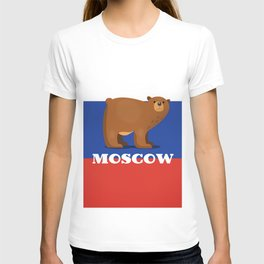 Moscow Bear and flag travel poster. T-shirt
