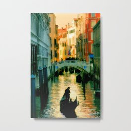 Italy. Venice lonely boatman Metal Print