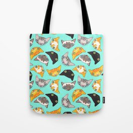 """""""Oro?"""" Cats-Turquoise Tote Bag"""