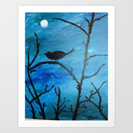Blackbird singing in the dead of night/ Pajaro negro sal de ahi Art Print
