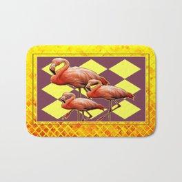 Art Deco Gold Pinkish Flamingos Puce-Yellow Art Bath Mat