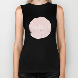 Hello! Black on white Polkadots and pink Typography Biker Tank
