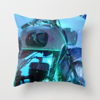 motorbike Throw Pillows featuring Ice Motorbike 1 by Marko Köppe