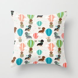 Dachshund hot air balloon dog cute design fabric doxie pillow decor phone case Throw Pillow