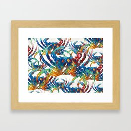 Bright Colorful Crab Collage Art by Sharon Cummings Framed Art Print