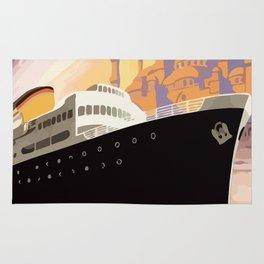 Venice Greece Istanbul shipping line retro vintage ad Rug