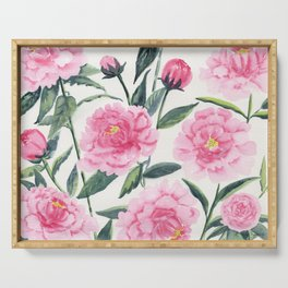 Pink Peonies Serving Tray