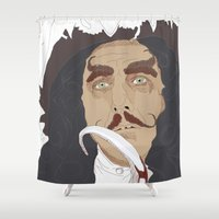 captain hook Shower Curtains featuring HOOK by Itxaso Beistegui Illustrations