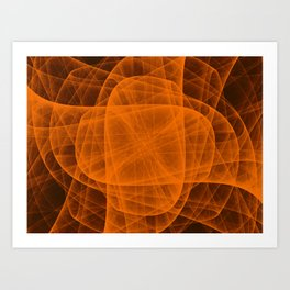 Fractal Eternal Rounded Cross in Orange-Brown Art Print