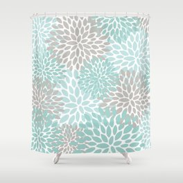 Floral Pattern, Teal, Aqua, Turquoise,Gray Shower Curtain