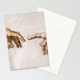 Hands of God the Father and Adam, Sistine Chapel Ceiling by Michelangelo Stationery Cards