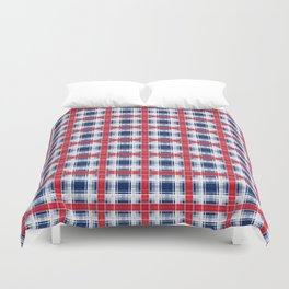 Plaid, red and blue Duvet Cover