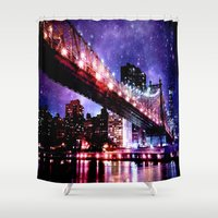 new york Shower Curtains featuring New York New York by Whimsy Romance & Fun
